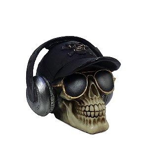 Caveira Decorativa Boné Headphone e Óculos