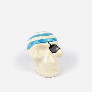 Cofre Decorativo Caveira Pirata Azul