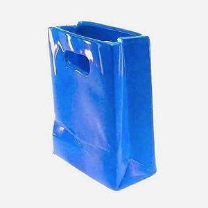 Vaso Sacolinha Cerâmica Azul