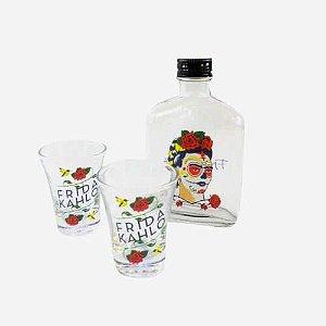 Kit Copos e Garrafa Frida Kahlo