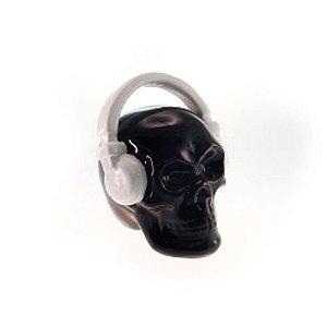 Cofre Decorativo Caveira com Headphone Preto