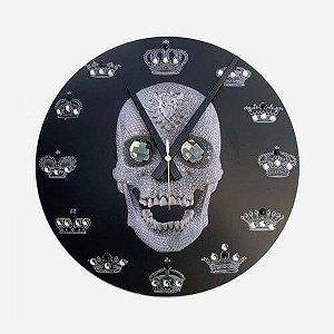 Relógio de Parede Caveira Coroa Preta