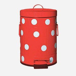 Lixeira Cute Dots Vermelha