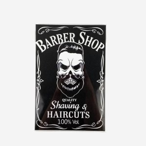 Placa Decorativa Caveira Barber Shop