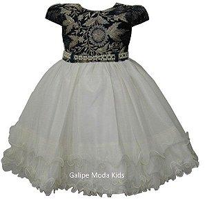 0ad6a6892 Comprar agora! Vestido Infantil de Festa Azul Marinho e Creme