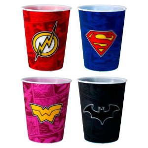 Kit 4 copos 3D DC Comics - Mulher Maravilha, Flash, Batman e Superman