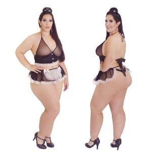 Fantasia Plus Size Empreguete do Desejo Hot Flowers