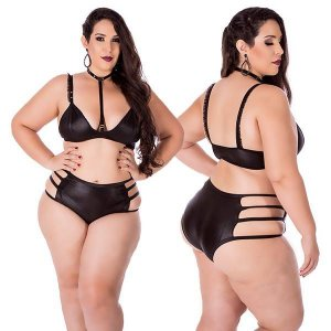 hot top com coleira removível plus size-preto - hotflowers