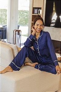 Pijama Longo Amélia Azul Marinho