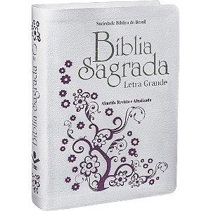 BÍBLIA SAGRADA LETRA GRANDE - COURO BRANCO