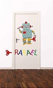 Adesivo de porta infantil-Robô
