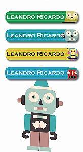Mini Etiquetas Escolares 72 unidades - Robôs