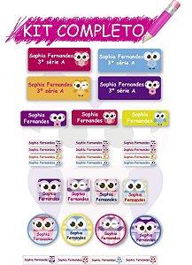 Etiquetas escolares Kit Completo - Corujinha 202 etiquetas