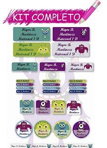 Etiquetas escolares Kit Completo - Monstros 202 etiquetas