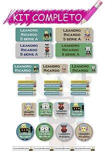 Etiquetas escolares Kit Completo - Robô 202 etiquetas
