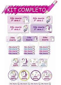 Etiquetas escolares Kit Completo - Unicórnio 202 etiquetas
