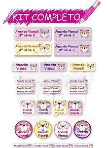 Etiquetas escolares Kit Completo - Ursinhos 202 etiquetas