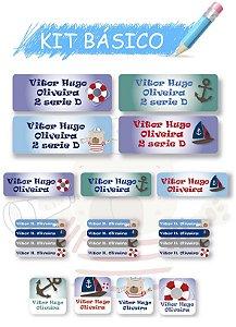 Etiquetas escolares personalizadas Kit Básico Marinheiro-  118 etiquetas