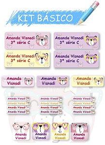 Etiquetas escolares personalizadas Kit Básico Ursinho - 118 etiquetas