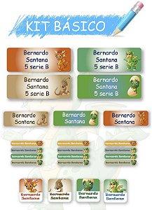 Etiquetas escolares personalizadas Kit Básico Dinossauro - 118 etiquetas