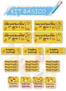 Etiquetas escolares personalizadas Kit Básico Girafinhas - 118 etiquetas