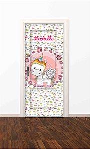 Adesivo de porta infantil-Unicórnio Flores