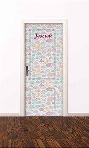 Adesivo de porta infantil-Nuvem Pink
