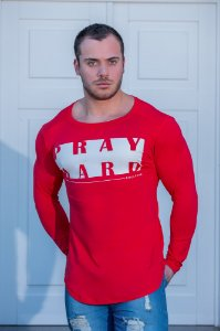 Camiseta Masculina Estampada Longline Manga Longa com Elastano Vermellha- Pray Hard