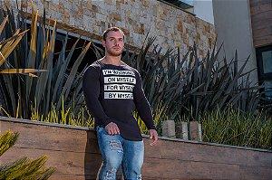 Camiseta Masculina Estampada Longline Manga Longa com Elastano - Preto