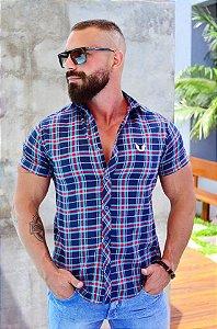 Camisa Masculina Slim Xadrez Manga Curta