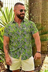 Camisa Masculina Floral Verde Slim