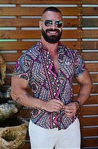 Camisa Masculina Estampada Slim