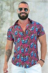 Camisa Masculina Estampa Folhagem Slim
