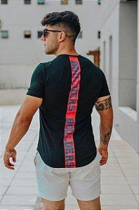 Camiseta Masculina Estampada Longline Manga curta Preta