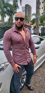 Camisa Masculina Slim Manga Longa com Elastano