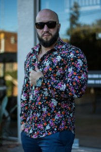 Camisa Masculina Slim Manga Longa com Elastano BLACK FLORAL