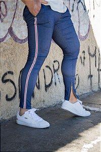 Calça super skinny Jeans com faixa lateral Power Elastano