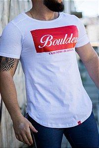 Camiseta Masculina Estampada Longline Branca