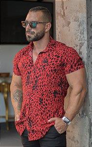 Camisa Masculina Manga Curta Viscose Estampa Tigrada