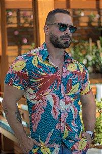 Camisa Masculina Viscose Manga Curta Estampada