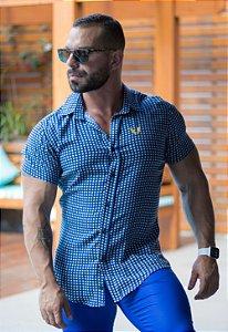 Camisa Masculina Viscose Manga Curta Estampa Xadrez