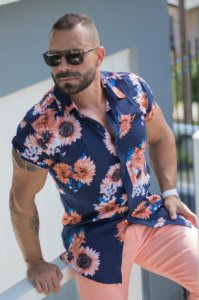Camisa Masculina Viscose Manga Curta Estampada Girassol Azul/Rosê