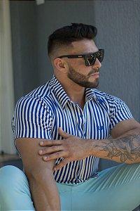 Camisa Listrada Slim com Elastano Listrada Branco e Azul Royal Manga Curta