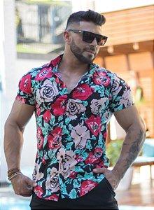 Camisa Masculina Slim Tricoline com Elastano Estampa Floral
