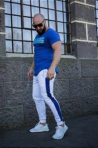Calça jogger moletom masculina slim com faixa lateral
