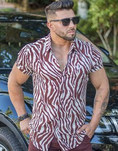 Camisa Masculina Slim Manga Curta Estampa Zebra
