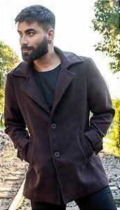 Casaco Masculino Slim em Lã Marrom