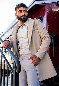 Casaco Masculino Alongado Slim em Lã Off White