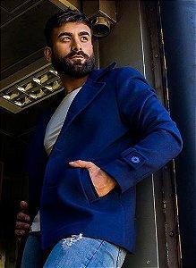 Casaco Masculino Slim em Lã Azul Marinho