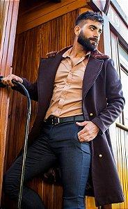Sobretudo/Overcoat Masculino de Lã Marrom com Gola em Pele